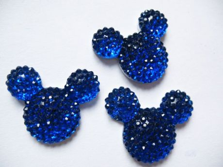 10 X 14MM ROYAL BLUE GLITTER FLAT BACK RESIN MICKEY MINNIE MOUSE EMBELLISHMENT